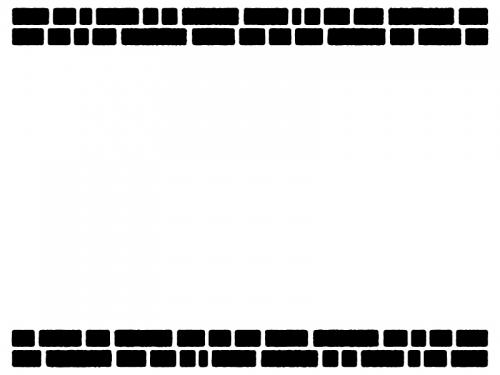 レンガの上下白黒フレーム飾り枠イラスト