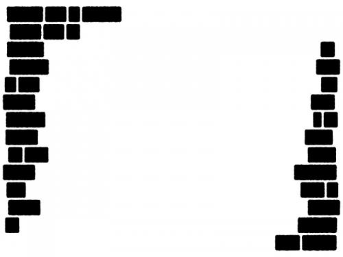 レンガの左右白黒フレーム飾り枠イラスト