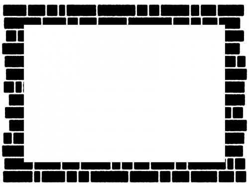 レンガ壁の白黒四角フレーム飾り枠イラスト