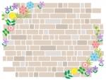 カラフルな花とレンガ壁のフレーム飾り枠イラスト