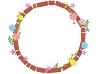 カラフルな花と赤茶色のレンガのフレーム飾り枠イラスト