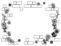 花とレンガ壁の白黒フレーム飾り枠イラスト