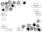 紅葉したもみじの葉っぱとレンガ壁の白黒フレーム飾り枠イラスト