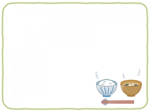 ご飯とお味噌汁の緑色フレーム飾り枠イラスト