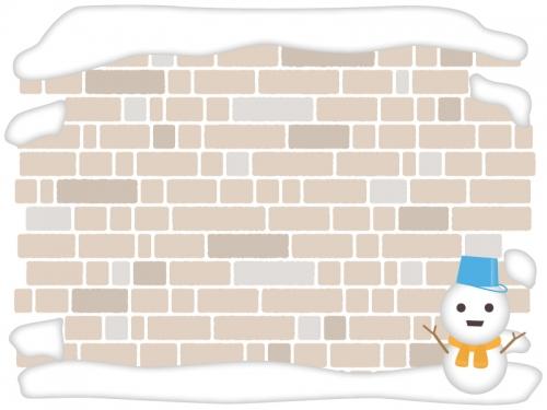 雪だるまとレンガ壁のフレーム飾り枠イラスト