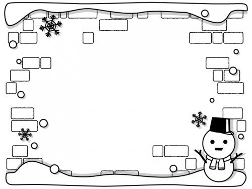 雪だるまとレンガ壁の白黒フレーム飾り枠イラスト