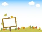 秋の景色と看板のフレーム飾り枠イラスト