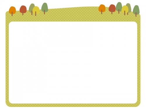 秋の景色の上部フレーム飾り枠イラスト