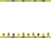 紅葉した木と水玉上下フレーム飾り枠イラスト