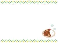 カレーのギザギザ上下フレーム飾り枠イラスト