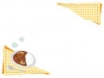 カレーと黄色チェックのフレーム飾り枠イラスト