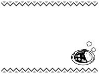 カレーのギザギザ上下白黒フレーム飾り枠イラスト