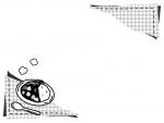カレーとチェック柄の白黒フレーム飾り枠イラスト