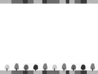 森と水玉上下白黒フレーム飾り枠イラスト
