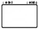 森の上部白黒フレーム飾り枠イラスト