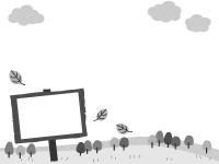 森と看板の白黒フレーム飾り枠イラスト