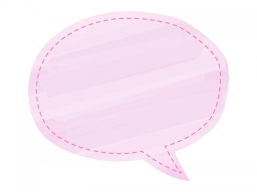ピンク色の水彩風吹き出しフレーム飾り枠イラスト