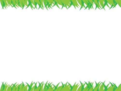 草原の上下フレーム飾り枠イラスト