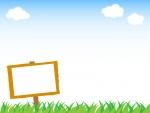 草原と看板のフレーム飾り枠イラスト