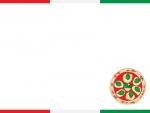 ピザのイタリアカラー上下フレーム飾り枠イラスト