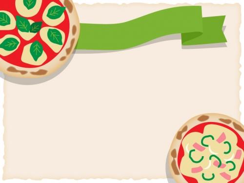 ピザと緑色のリボンのフレーム飾り枠イラスト