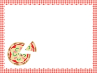 ピザと赤いチェック柄のフレーム飾り枠イラスト