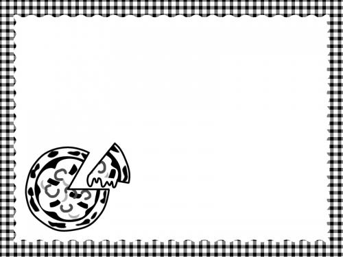 ピザとチェック柄の白黒フレーム飾り枠イラスト