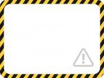 注意マークと黒と黄色線の注意・警戒のフレーム飾り枠イラスト