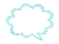 水彩風吹き出しの水色フレーム飾り枠イラスト