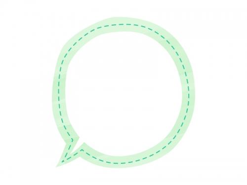 水彩風吹き出しの黄緑色フレーム飾り枠イラスト