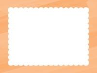 水彩風のもこもこ(オレンジ色)フレーム飾り枠イラスト