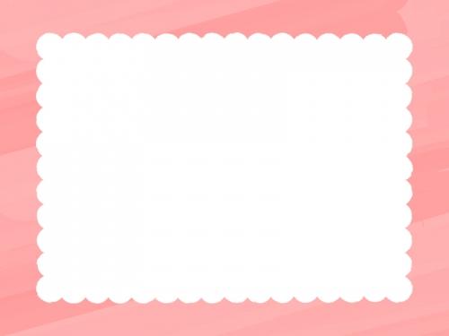水彩風のもこもこ(朱色)フレーム飾り枠イラスト