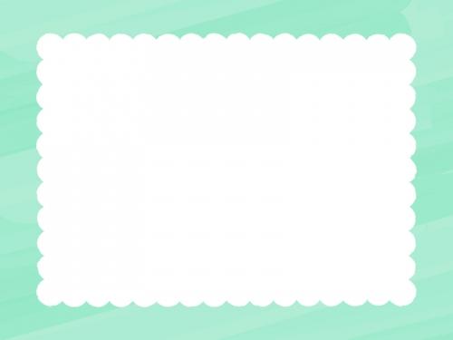 水彩風のもこもこ(ミント色)フレーム飾り枠イラスト
