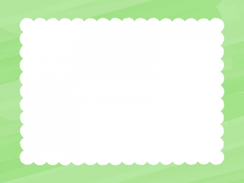 水彩風のもこもこ(黄緑色)フレーム飾り枠イラスト