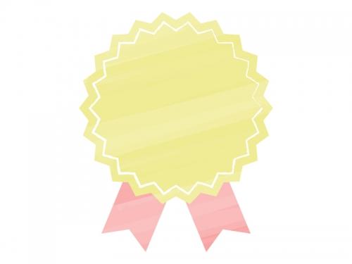 水彩風リボンバッジ(黄×赤)フレーム飾り枠イラスト