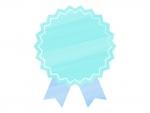 水彩風リボンバッジ(水色×青)フレーム飾り枠イラスト