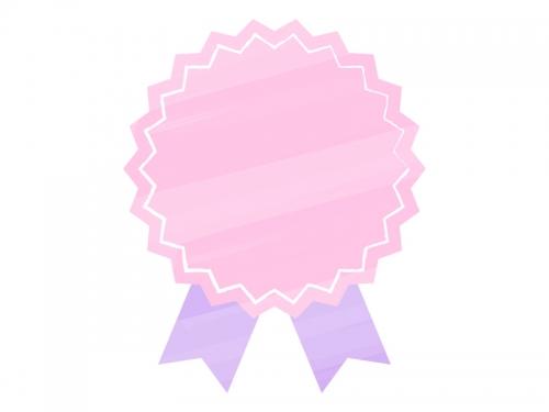 水彩風リボンバッジ(ピンク×紫)フレーム飾り枠イラスト