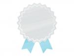 水彩風リボンバッジ(シルバー×青)フレーム飾り枠イラスト