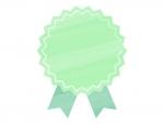 水彩風リボンバッジ(緑)フレーム飾り枠イラスト