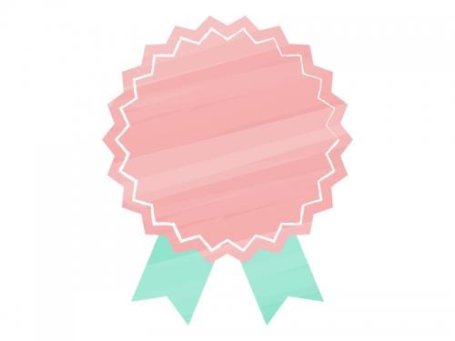 水彩風リボンバッジ(赤×緑)フレーム飾り枠イラスト