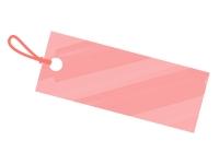 水彩風タグ・荷札(赤色)フレーム飾り枠イラスト