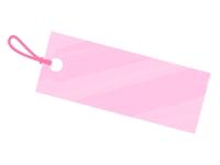 水彩風タグ・荷札(ピンク)フレーム飾り枠イラスト