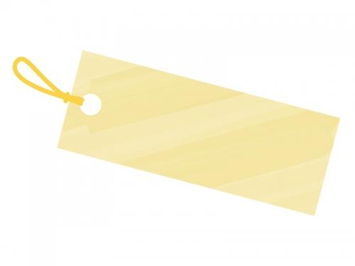 水彩風タグ・荷札(黄色)フレーム飾り枠イラスト