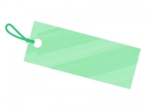 水彩風タグ・荷札(緑色)フレーム飾り枠イラスト