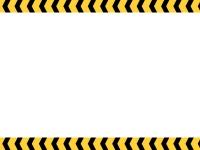 黒と黄色のくの字線の注意・警戒の上下フレーム飾り枠イラスト
