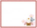 鏡餅とネズミの赤いフレーム飾り枠イラスト