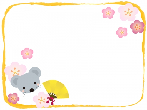 ネズミと金色の扇子と梅の花の黄色フレーム飾り枠イラスト