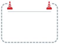 ロードコーン・パイロンの灰色点線フレーム飾り枠イラスト