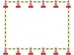 ロードコーン・パイロンの黄色いと黒の囲みフレーム飾り枠イラスト
