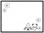鏡餅とネズミの白黒フレーム飾り枠イラスト